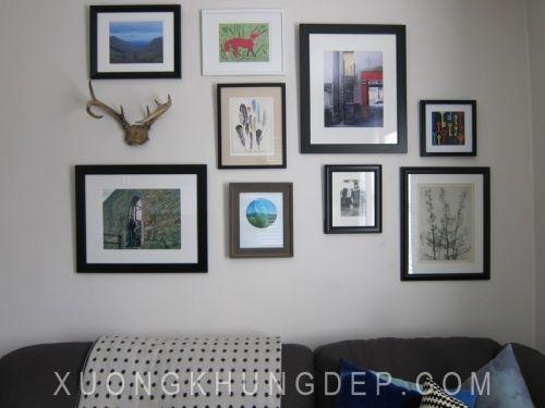 Khung tranh bộ treo tường màu đen bo trắng Khung Tranh Đẹp Giá Rẻ