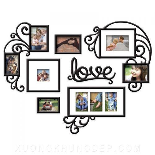 Khung tranh bộ treo tường xếp hình trái tim Khung Tranh Đẹp Giá Rẻ